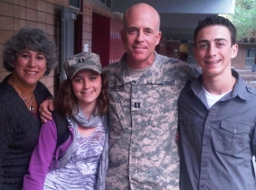 Debra Mendelsohn (left) poses with her husband, Bill (center), and their two children, Emelie and Doug, in November 2010