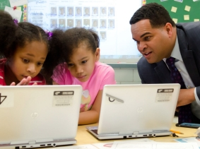 Second-grade students in Baltimore County, Maryland, work with an instructor through a personalized learning initiative called Students and Teachers Accessing Tomorrow (STAT)
