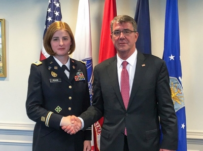 U.S. Army Capt. Jennifer Peace with Secretary of Defense Ash Carter a week before the military lifted its ban on transgender service members serving openly