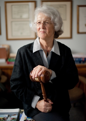 Phyllis Randolph Frye, the first openly transgender judge in the United States, poses at her office in Houston, Texas, July 22, 2015