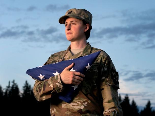 U.S. Army Capt. Jennifer Peace poses near her home in Spanaway, Washington, August 28, 2015