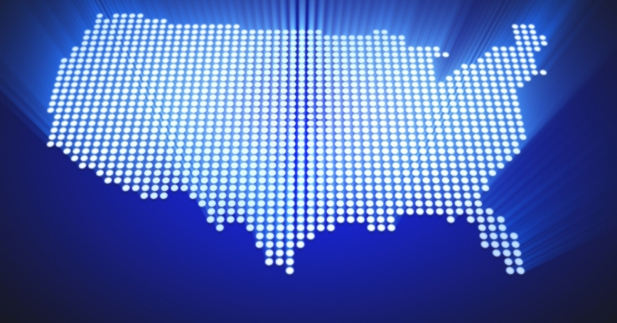 LED map of the continental United States