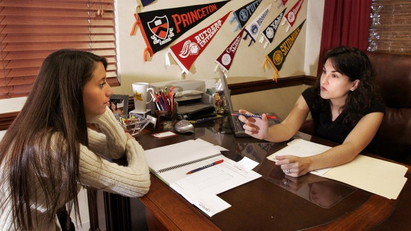 Bari Norman (right) an independent college admissions counselor, meets with a student in Weston, Florida, February 2007