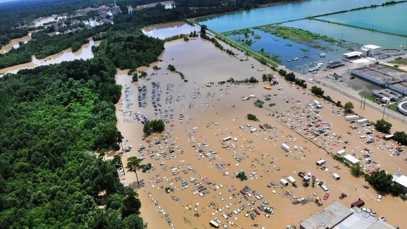 An aerial view of flooding and devastation in Baton Rouge, Louisiana, August 15, 2016