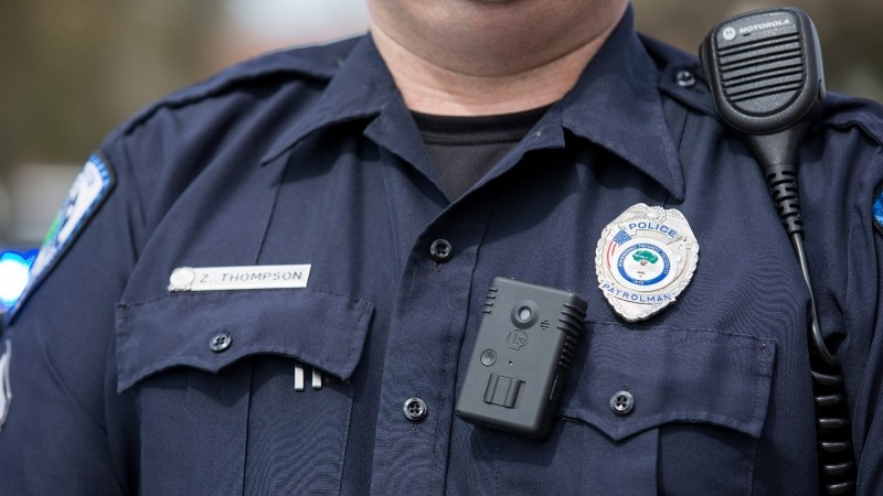 A police officer wears a body camera in North Charleston, South Carolina