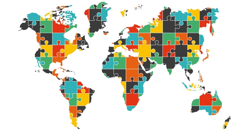 World map concept with puzzle pieces