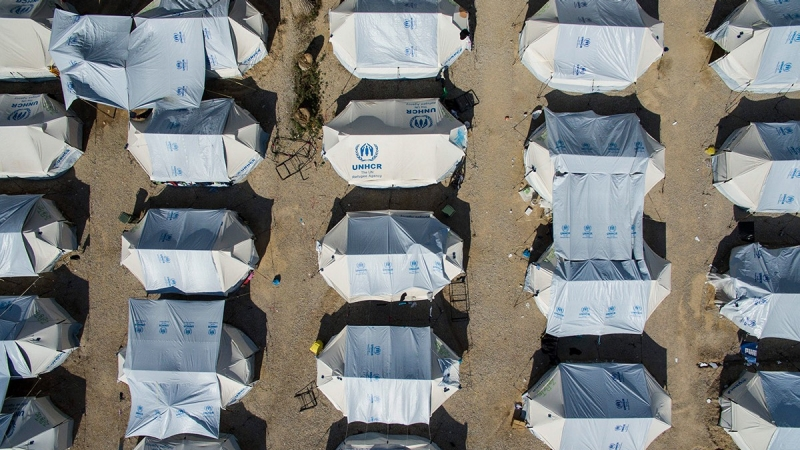 An aerial view of Lagadikia refugee camp near Thessaloniki, Greece, June 4, 2016