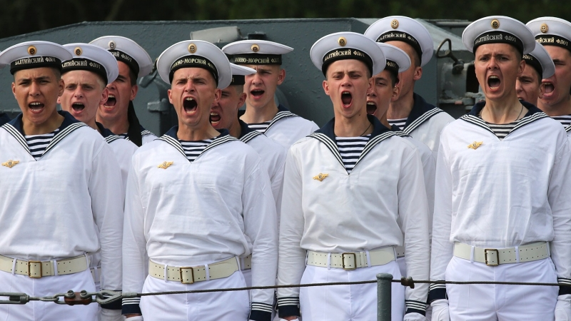 Baltic Fleet mariners shout during the final rehearsal of the naval parade to mark Russian Navy Day, Baltiysk, Russia, July 27, 2016