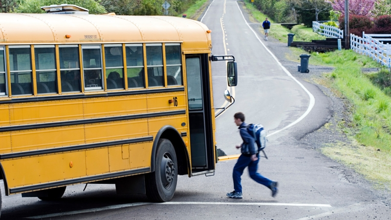 A teen boy boards a school bus