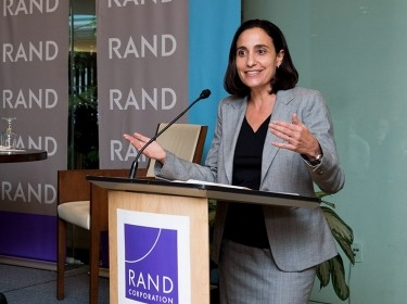 Dalia Dassa Kaye speaks at a RAND Policy Circle event at RAND's headquarters campus in Santa Monica, California, September 19, 2016