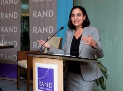 Dalia Dassa Kaye speaks at a RAND Policy Circle event at RAND's headquarters campus in Santa Monica, California, September 19, 2016