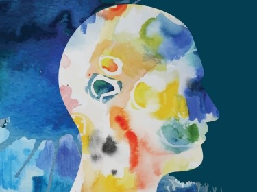 A watercolor painting of a silhouette profile