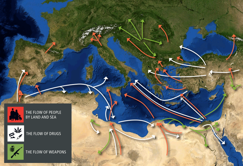 Arrows show the flow of drugs, weapons, and people across the Mediterranean region