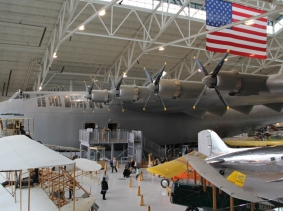 The Hughes H-4 Hercules, also known as the Spruce Goose, is seen at Evergreen Aviation Museum in McMinnville, Oregon