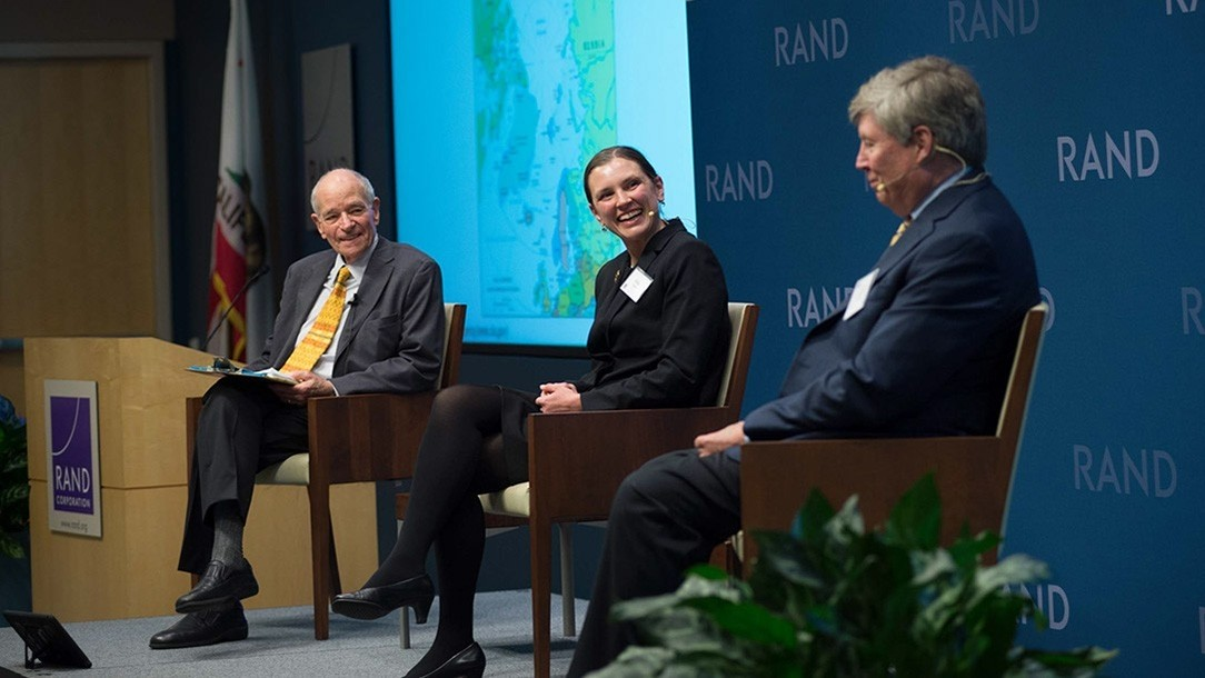 Warren Olney, Abbie Tingstad, and William Courtney at a RAND Policy Circle event about the Arctic, March 2, 2017