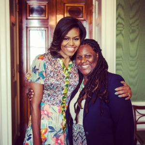 Amnoni Myers introduced First Lady Michelle Obama at a 2015 Take Our Daughters and Sons to Work Day event