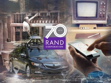Clockwise from top left: RAND's JOHNNIAC mainframe computer, the RAND Tablet, a mobile phone, and an autonomous vehicle