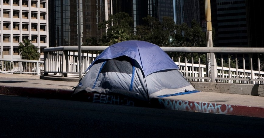 A tent used by a homeless person in downtown Los Angeles, March 12, 2017