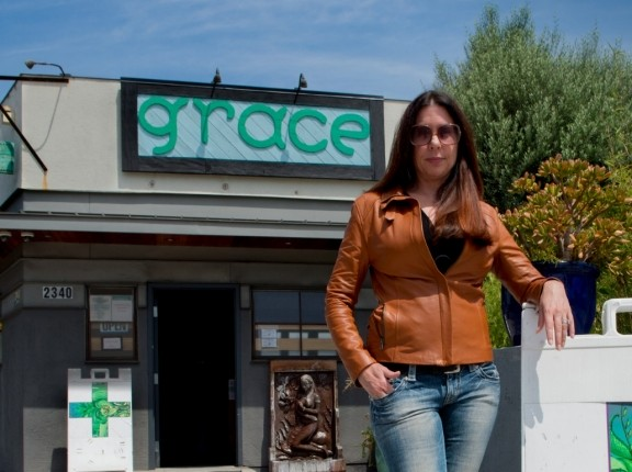 Elizabeth D'Amico outside a marijuana dispensary in Los Angeles, California