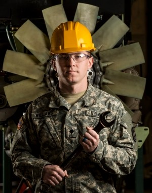 Spc. John Williams, a U.S. Army Reserve mechanic with the 346th Military Police Company (Combat Support) during a maintenance course in Schenectady, New York, March 14, 2018