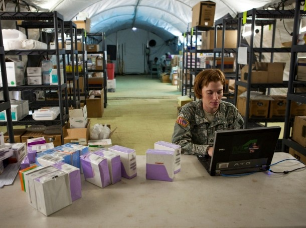 Pfc. Lena Wright, a supply clerk, catalogs and monitors class VIII supplies during a mass casualty exercise, October 17, 2012