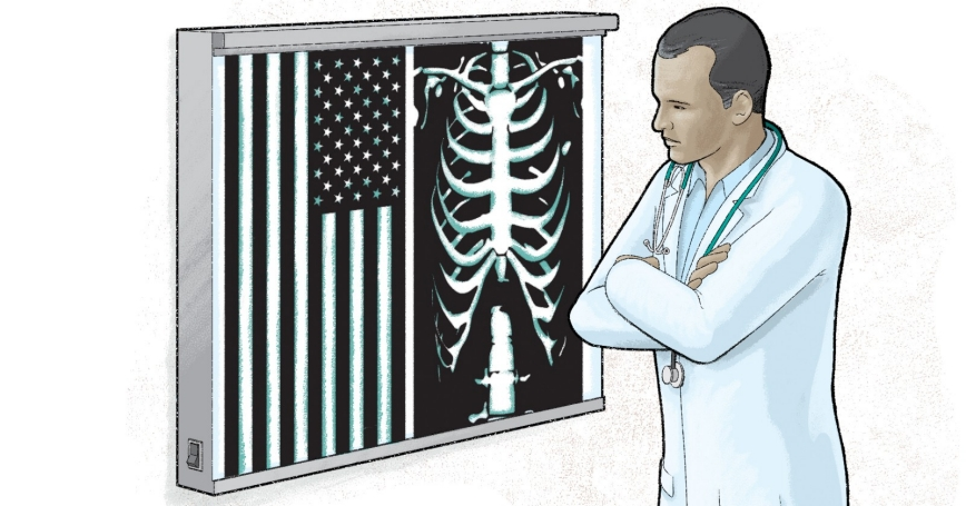 A doctor looking at an x-ray next to an American flag