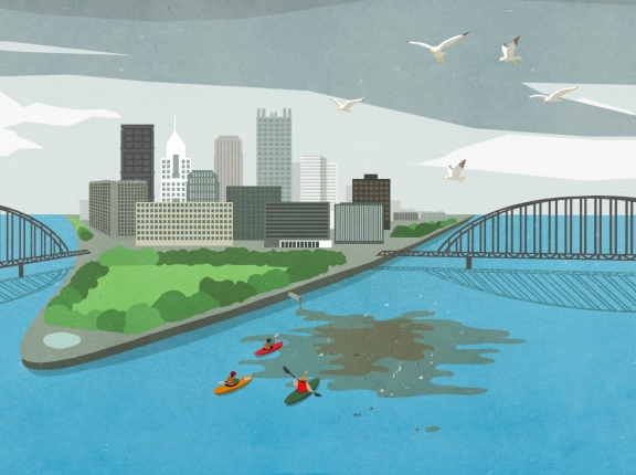 Skyline of Pittsburgh, Pennsylvania, illustration by Malte Muller