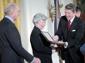 President Ronald Reagan presents Roberta Wohlstetter with the Presidential Medal of Freedom at the White House, November 7, 1985