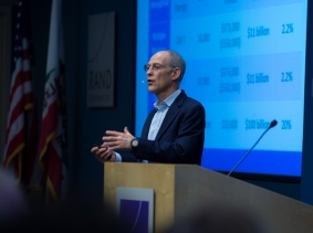 Ezekiel J. Emanuel delivers the 2018 Albert P. Williams Lecture on Health Policy at RAND's Santa Monica headquarters, October 17, 2018, photo by Diane Baldwin/RAND Corporation