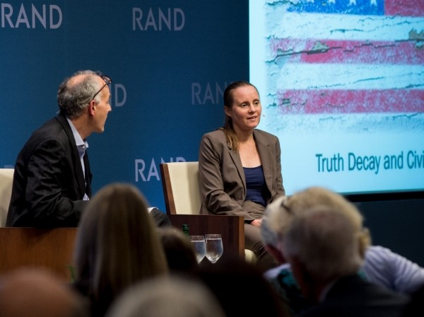 Senior political scientist Jennifer Kavanagh discusses Truth Decay at RAND's headquarters in Santa Monica, California, May 24, 2018, photo by Diane Baldwin/RAND Corporation