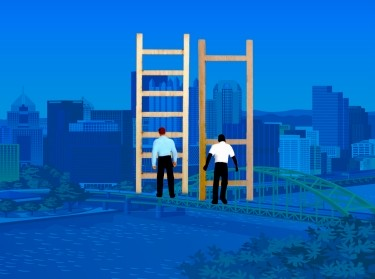 Men on different ladders to illustrate inequity in Pittsburgh, Pa., illustrations by hyejin kang and teddyandmia/Getty Images; design by Chara Williams/RAND Corporation