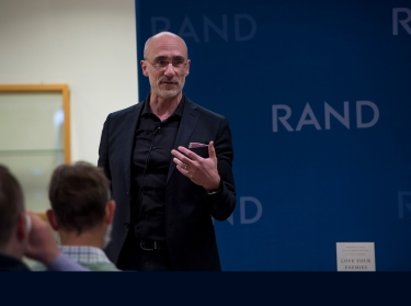 Arthur Brooks, author and Pardee RAND alumnus, discussing his new book at RAND's headquarters in Santa Monica, California, May 17, 2019, photo by Diane Baldwin/RAND Corporation