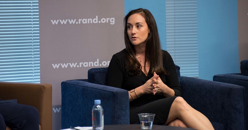 Cortney Weinbaum at the Roberta Wohlstetter Forum on National Security in Arlington, Virginia, October 24, 2018, photo by Grace Evans and Khorshied Samad/RAND Corporation