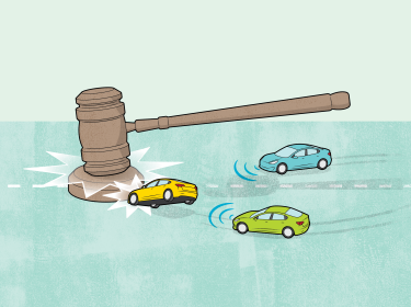 Illustration of a large gavel crashing down on self-driving cars, illustration by Chris Philpot