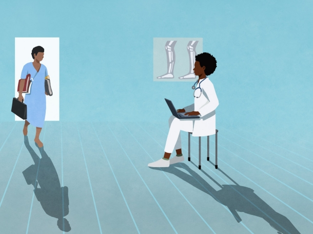 One doctor walking into a room to meet another doctor, illustration by Malte Müller