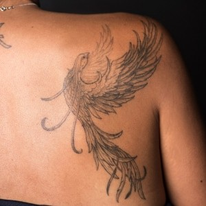 Sangeeta Ahluwalia's tattoo of a phoenix, photo by Diane Baldwin/RAND Corporation