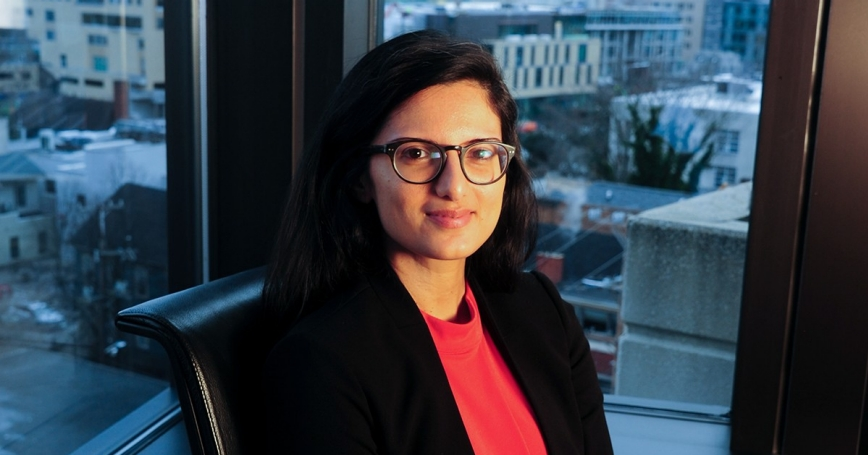 Engineer Anu Narayanan at the RAND office in Pittsburgh, Pennsylvania, January 21, 2020, photo by Jim Mendenhall/Pro Photography Network