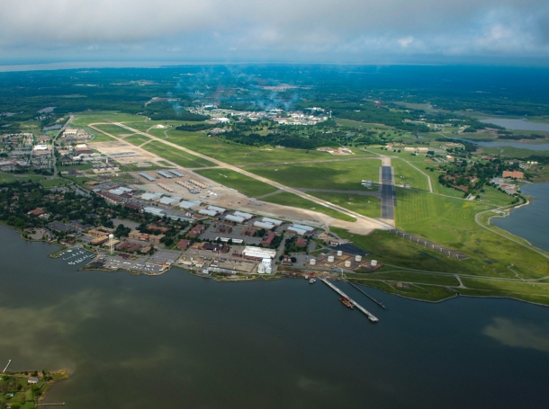 An aerial view of Joint Base Langley-Eustis and the Hampton Roads area, Virginia, May 20, 2018, photo by SrA Anthony Nin Leclerec/U.S. Air Force