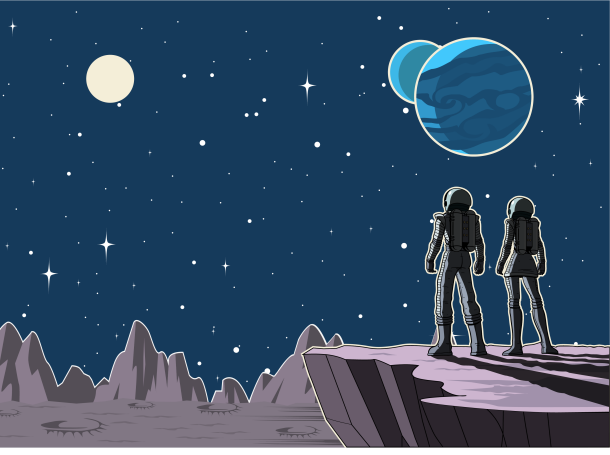 Astronauts on a planet looking at outer space, illustration by yogysic/Getty Images