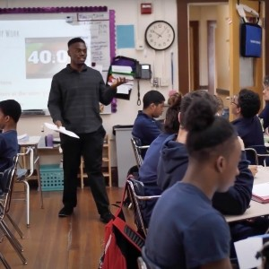 Závon Billups teaches eighth-grade civics at Boston Collegiate Charter School in Dorchester, Mass., photo courtesy of Závon Billups