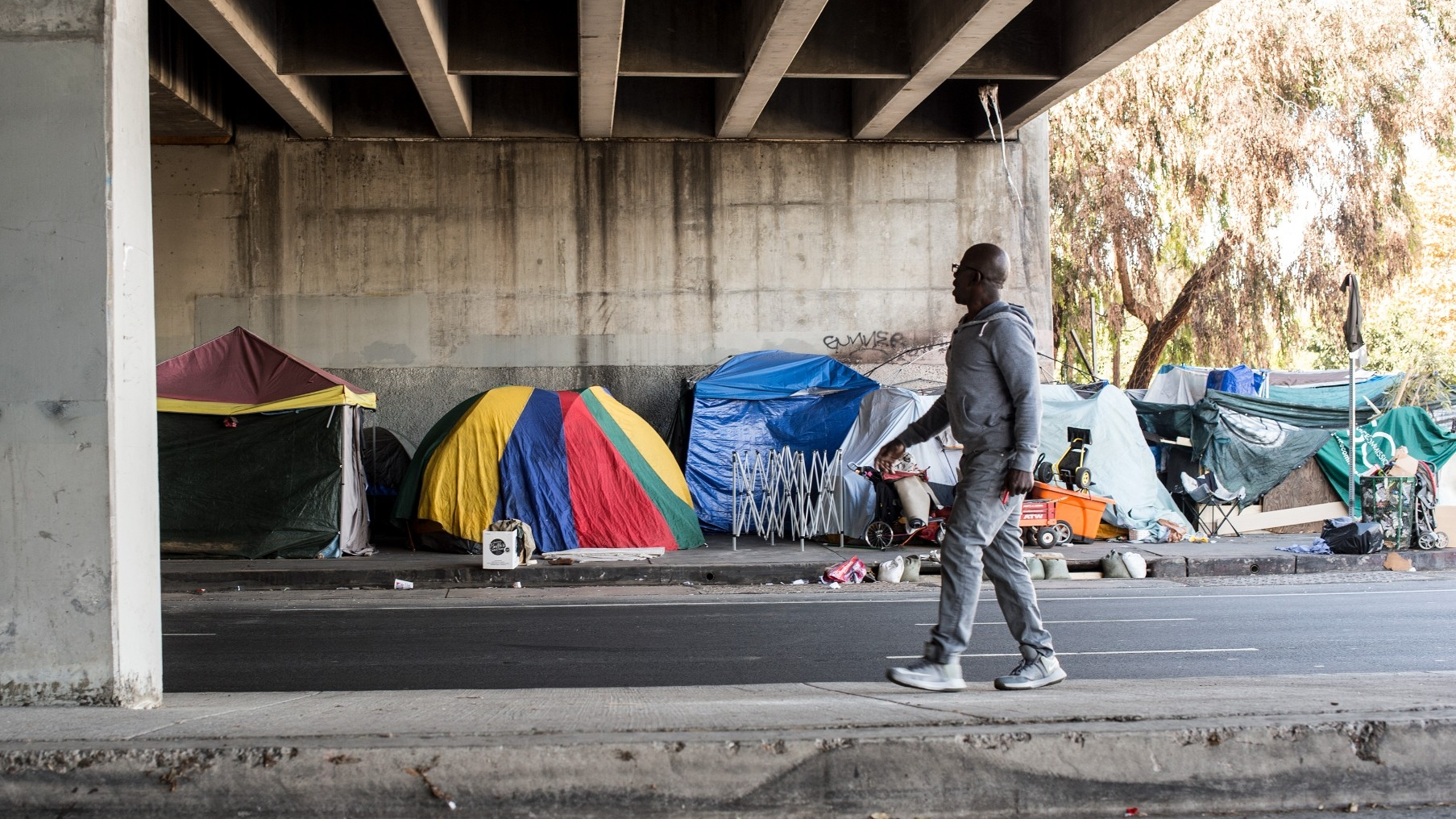 A homeless encampment in West Los Angeles in November 2020, photo by Diane Baldwin/RAND Corporation