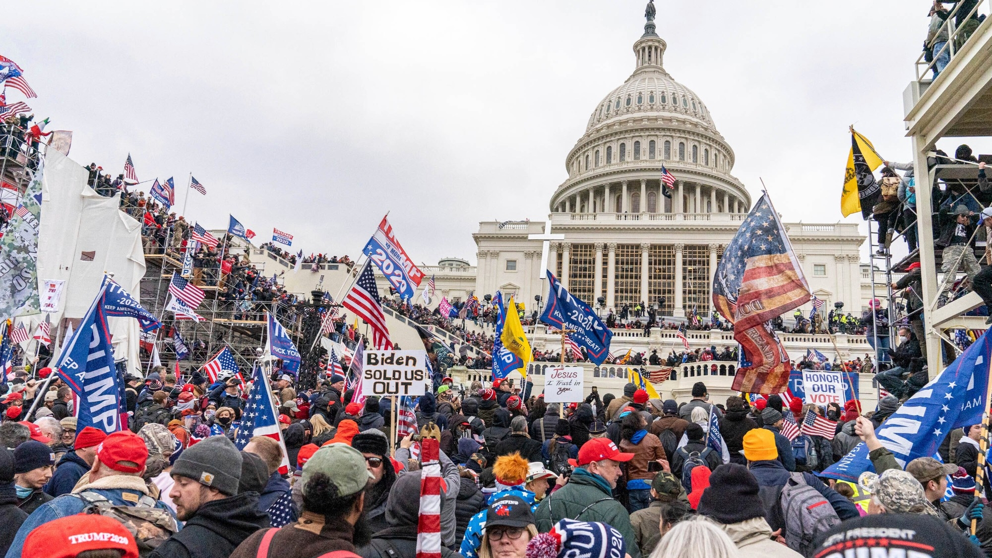 Demonstrators breaching the U.S. Capitol as they protest the results of the 2020 presidential election,  January 6, 2021, photo by Mihoko Owada/Star Max/IPx via AP Images