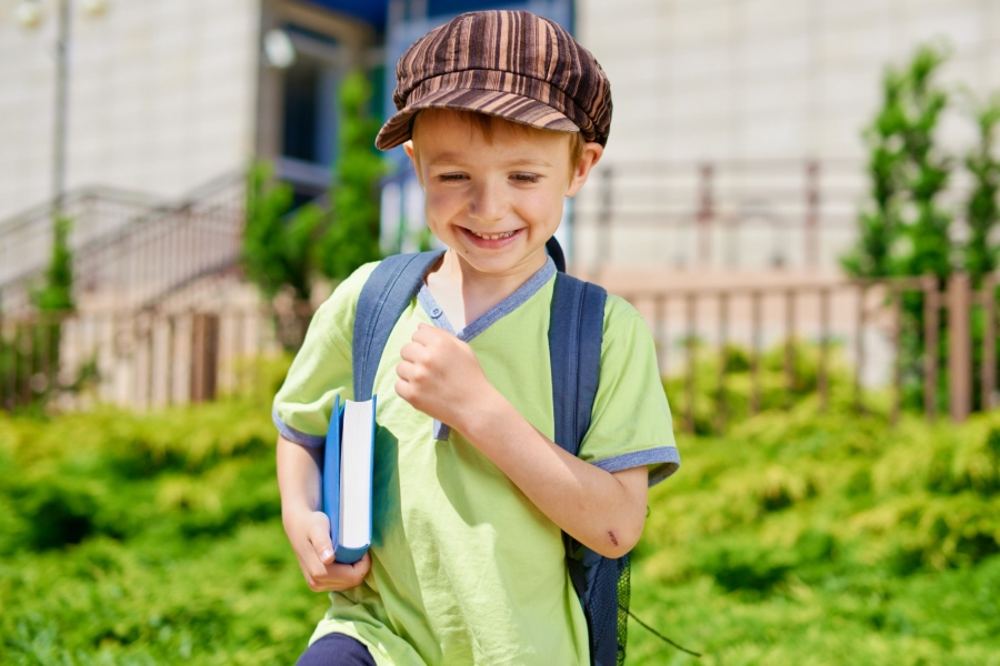 A boy going to school