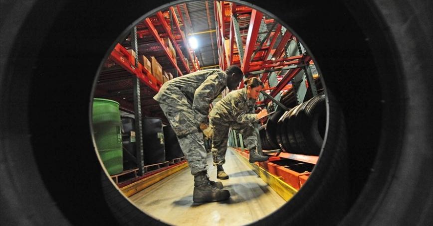 Airmen perform warehouse location checks at Whiteman Air Force Base, Mo., June 25, 2013
