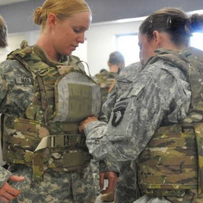 Deploying soldiers test new female body armor prototype