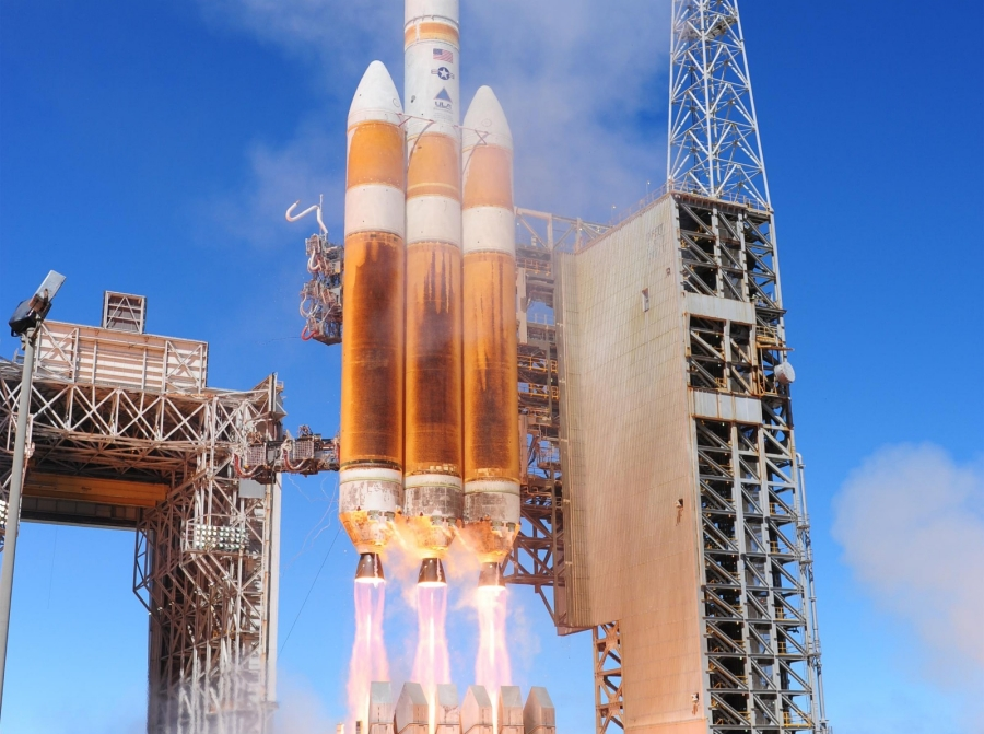 A United Launch Alliance Delta IV-Heavy rocket carrying a National Reconnaissance Office payload launches August 28, 2013