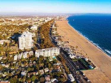 Aerial view of Santa Monica city and beach