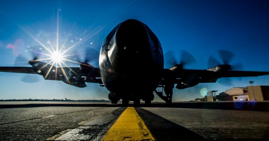 The last C-130E Hercules at Hurlburt Field, Fla., prepares for its final take off March 4, 2013, prior to retirement