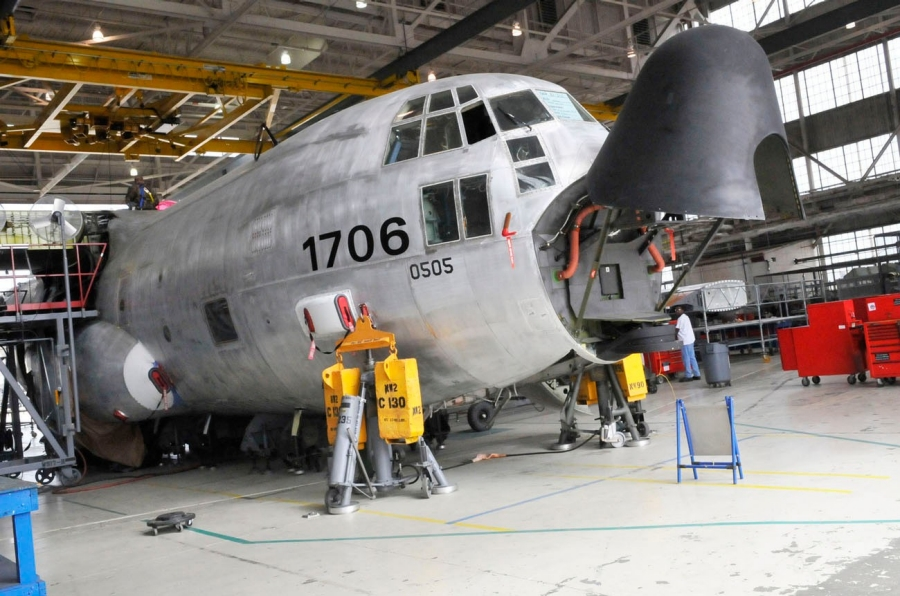 A Coast Guard C-130 undergoing maintenance at Robins AFB, completed August 12, 2012