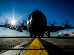 The last C-130E Hercules at Hurlburt Field, Fla., prepares for its final take off March 4, 2013, prior to retirement